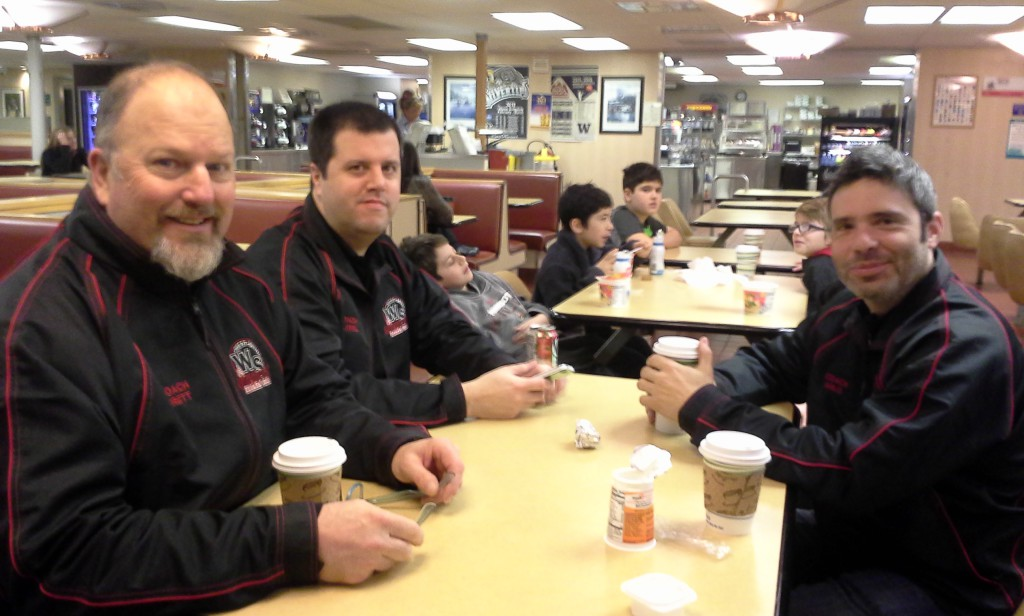 Ferry time! It's 6:25am now. Hi, coaches! We love these guys. They are all hockey dads - boys on the team.