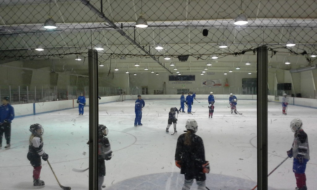 This is how they build good teams: 9 coaches on the ice with young girls of all ages, BEFORE DAWN!