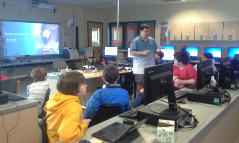 Coder Dojo guest speaker - Mr. Roas presents how his company improves product development efficiencies with customized apps. The kids learned what it takes to develop a concept through design, sourcing, manufacturing, and delivery. It was terrific! (I launched and lead the club on Thursdays at the intermediate school.)