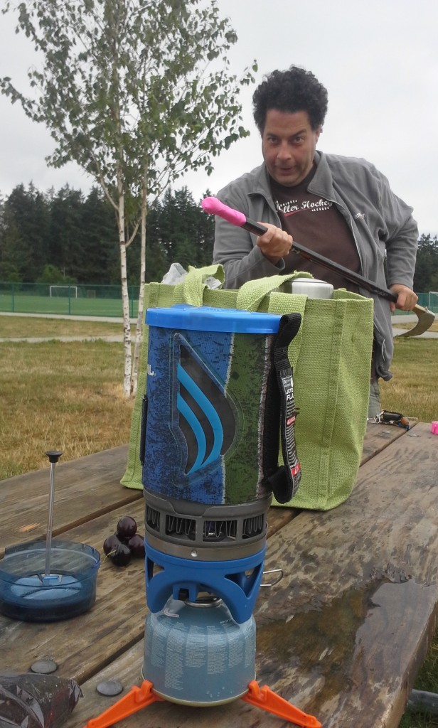 Saturday morning 9am hockey game! That means getting to the rink at 0800 to DRY IT OUT when it has been damp! I brought JetBoil to make coffee. This is one of my intrepid parents. It ended up raining anyway, after all that drying :(