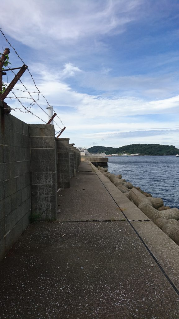A run along the seawall, technically off base, but clearly bounded by the sea. A little terrifying to wonder what would happen if a big swell came...
