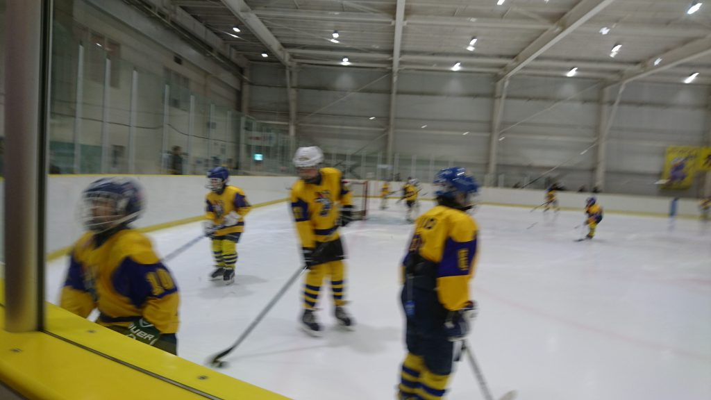 The game against the Saitama Warriors (what!? really? I had to zip up my jacket quick to cover up my WSHC Warriors gear!) went well - we won 8-3. Sam held his own and was very happy to play. Many videos are in the album.