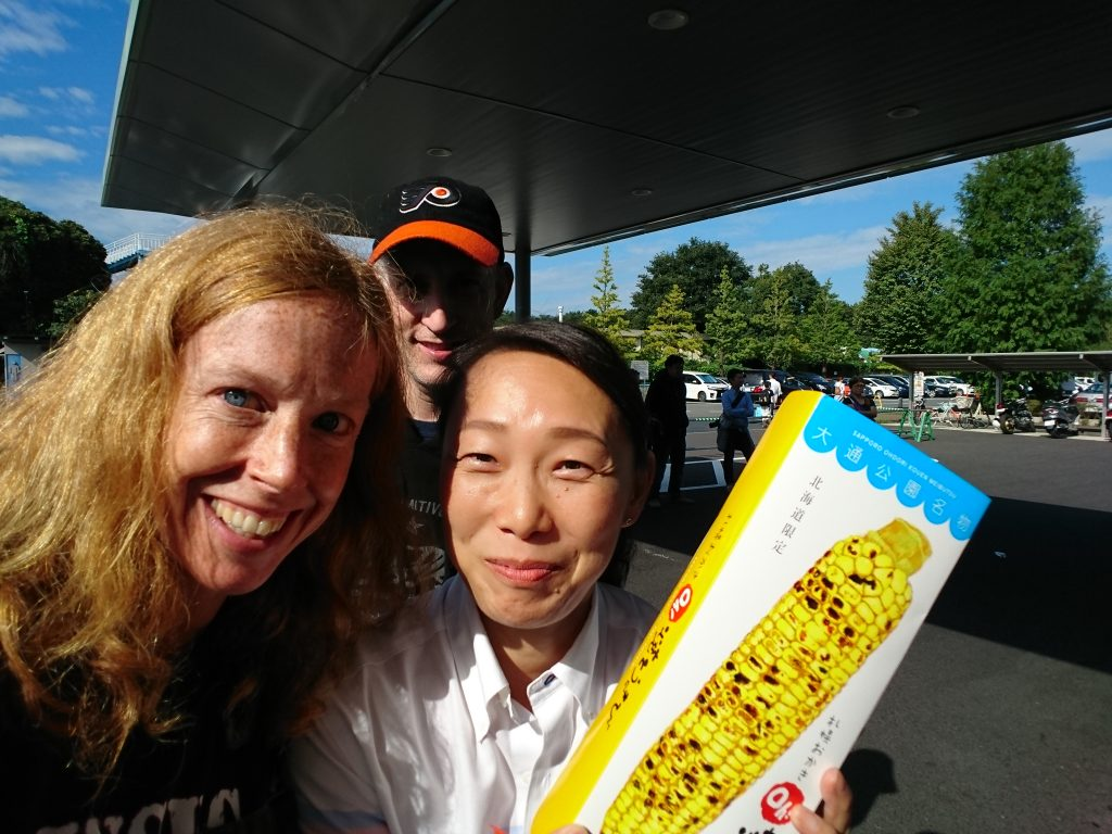 This is me and Hayashi-san, the team manager for the A (select) team. We swapped favorite snacks this weekend - I was thanking her for all she does for the team. I well know what it's like to roll in four new players - new jerseys, socks, rosters for tournaments, payments, questions, etc. etc. She brought me Hokkaido corn. Hokkaido is the northern island and hockey (and all snow sports) are big there. She is a very energetic and happy lady. You can hear her voice easily calling out through the rink!