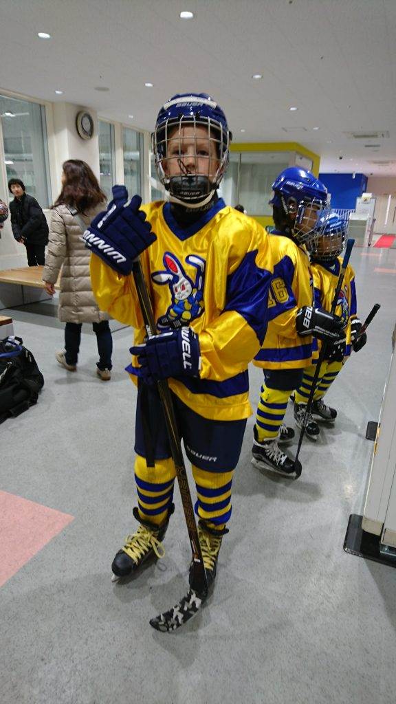 Ben ready for his first tournament! Both boys held their own and did a good job contributing to their teams. Sam had a beauty of a slapshot from the point which found the net!