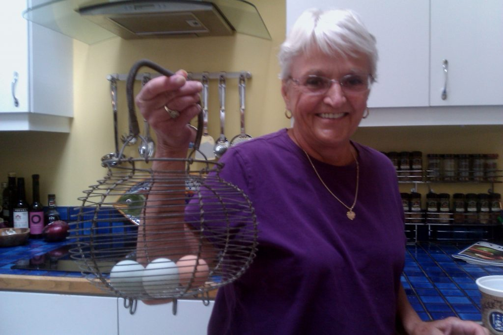 Nana got right into the chicken tending business!