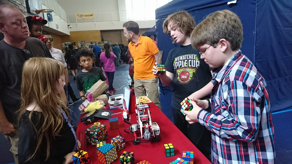 Sam and his buddy presented a Race the Robot Rubik's Cube solving demonstration twice this month, once at school and once for a base-wide event. They hoped to inspire kids to pick up a new skill this summer - now batteries or charge wire required! The guys did an excellent job. This photo links to an album for more pictures.
