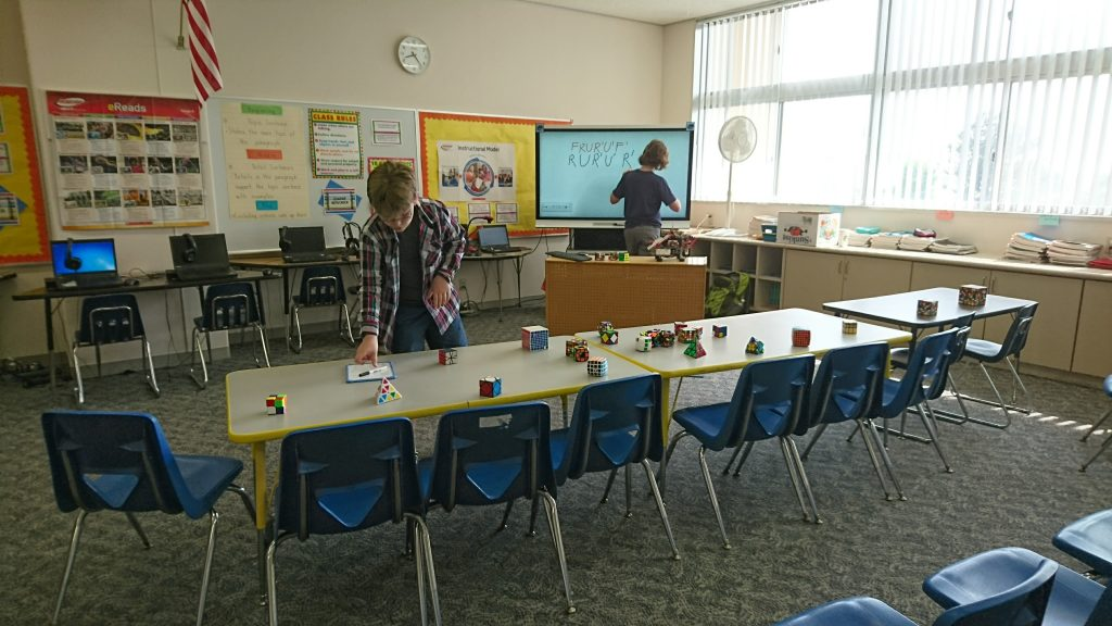 Setting up the classroom for the school event. They had 4 sessions, so about 100 kids total!